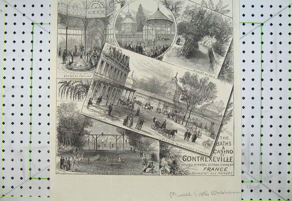 Print Baths Casino Gontrexeville France Lawn Tennis Pavillion 122B399 Old Original