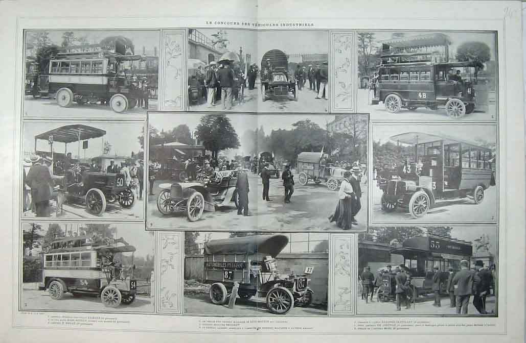 Print French Automobile Motor Car Bus Peugeot Omnibus Photo 608B401 Old Original