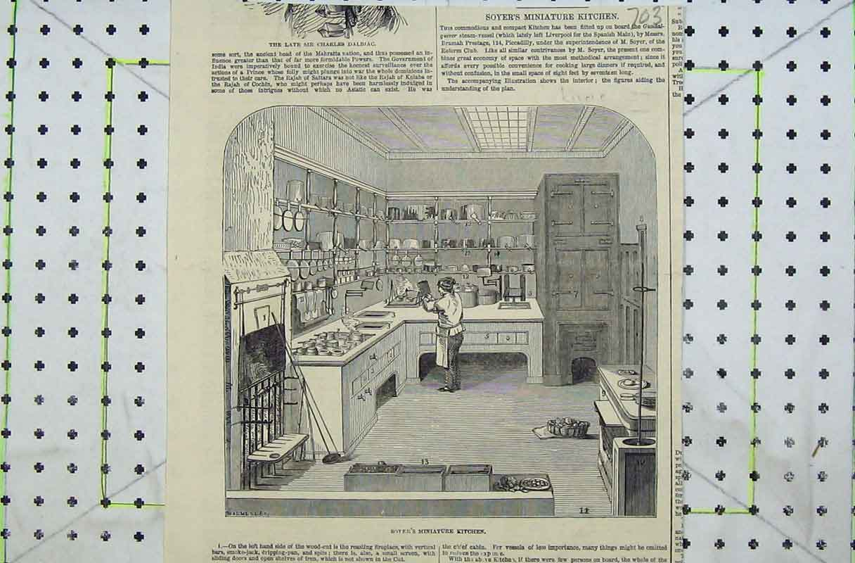 Print Soyer'S Minature Kitchen Chef Working Cooking 703B402 Old Original