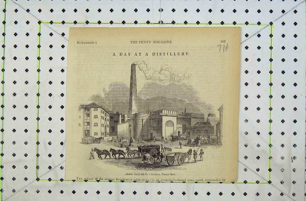 Print 1842 Distillery Messrs Smith Thames Bank Horse Cart 711B402 Old Original