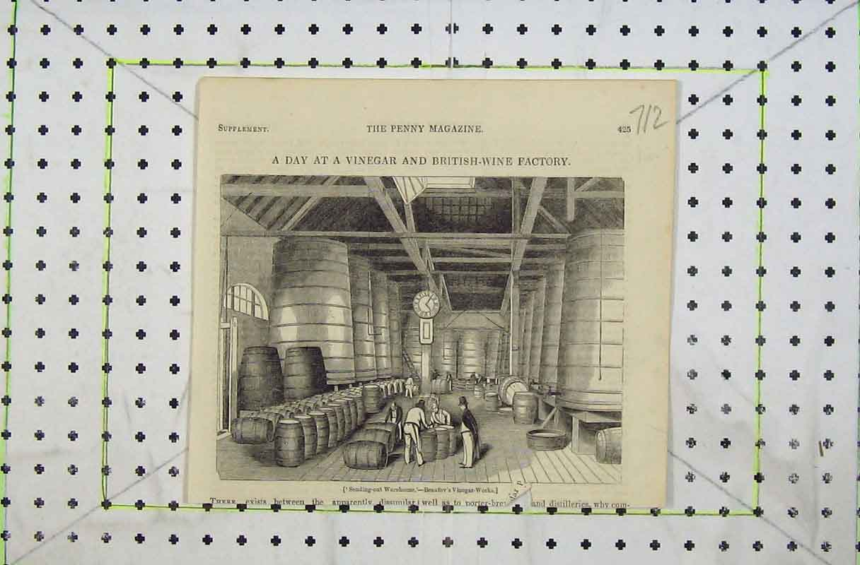 Print 1842 Vinegar British Wine Factory Beaufov'S Warehouse 712B402 Old Original