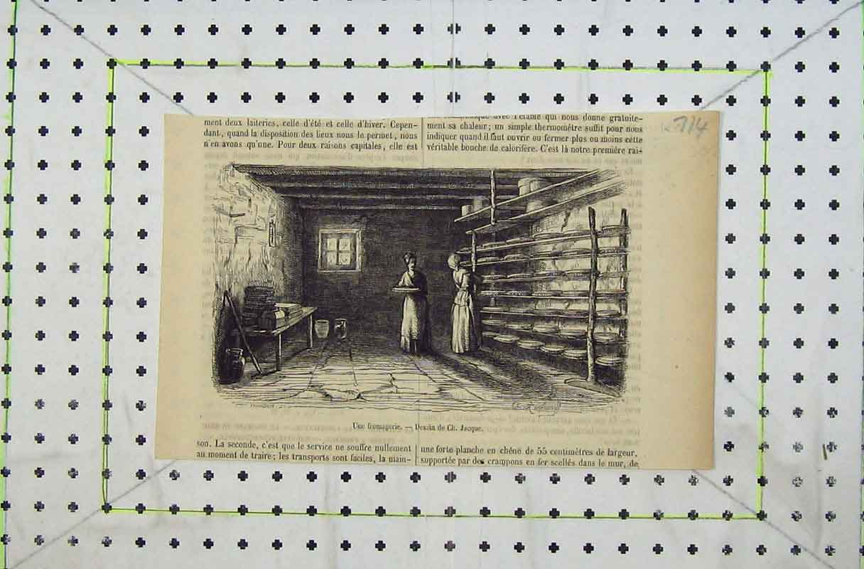 Print French Women Working Bakers Shelves 714B402 Old Original