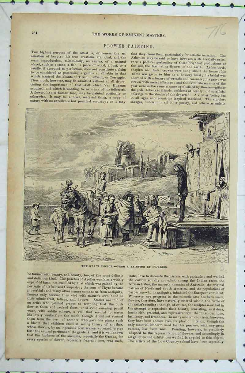 Print Painting Quack Doctor Horse Country Scene Dujardin 716B402 Old Original