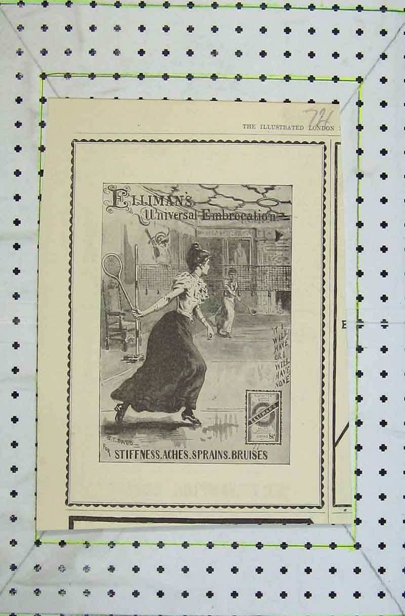 Print 1898 Advert Elliman'S Embrocation Ladies Tennis Sport 721B402 Old Original