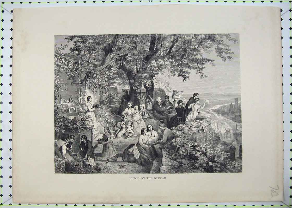 Print Country Scene Picnic Neckar Families Trees Mountains 703B403 Old Original