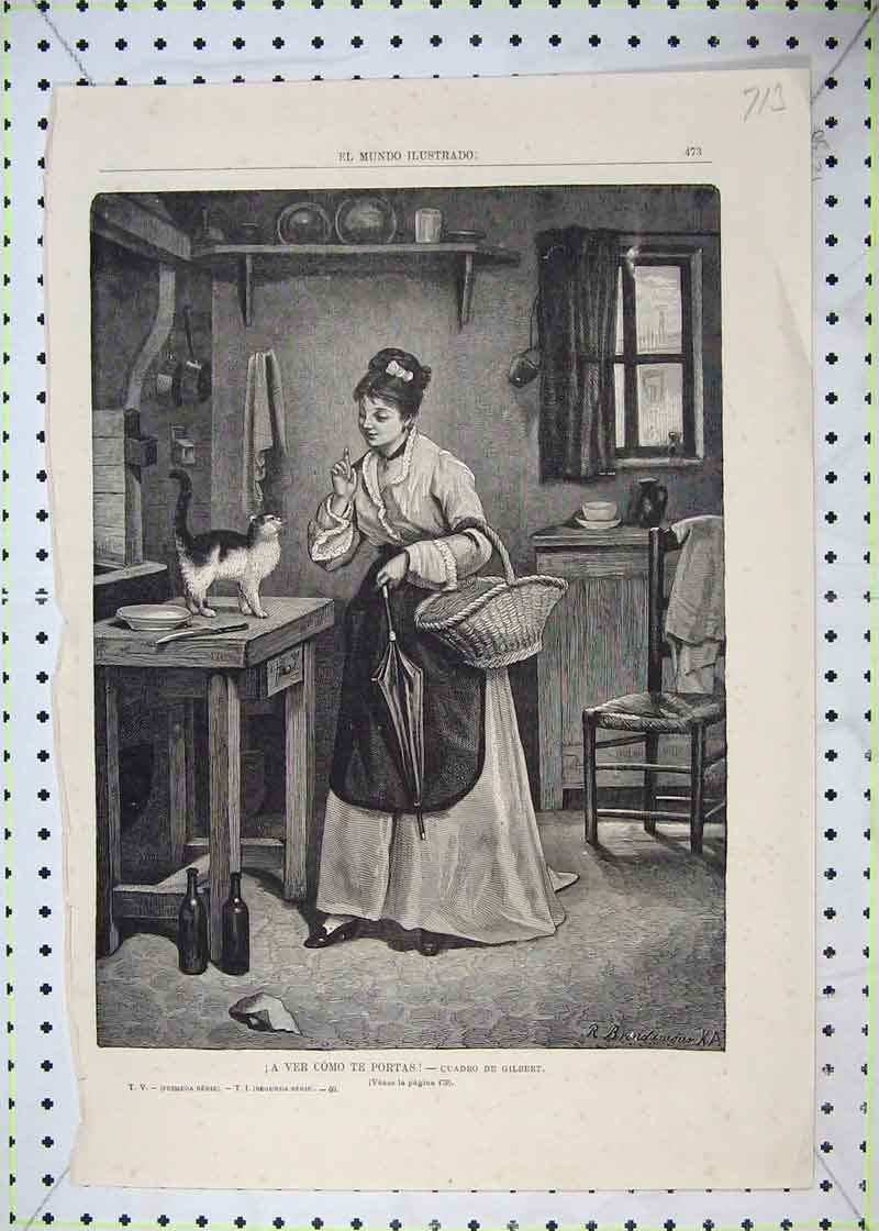 Print Fine Art Young Woman Cat Table Basket Interior House 713B403 Old Original