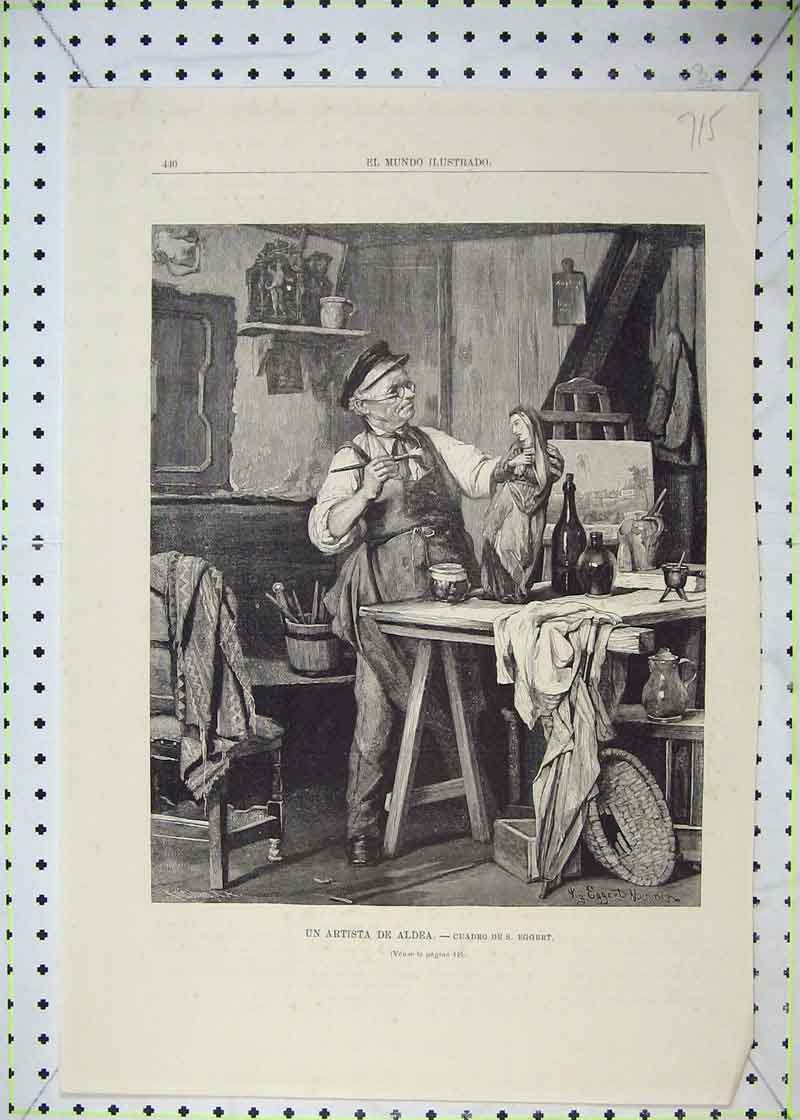 Print Artist Painting Ornament Studio Table 715B403 Old Original