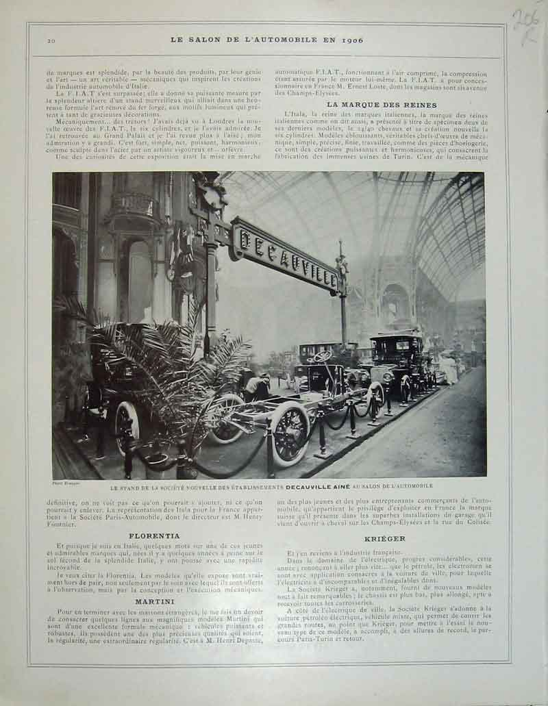 Print 1906 French Motor Car La Buire Lyon Decauville Aine 206Rb404 Old Original