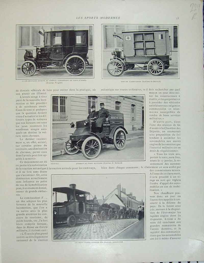 Print French Motor Sport Automobile Train Wheels Alps 229Rb404 Old Original