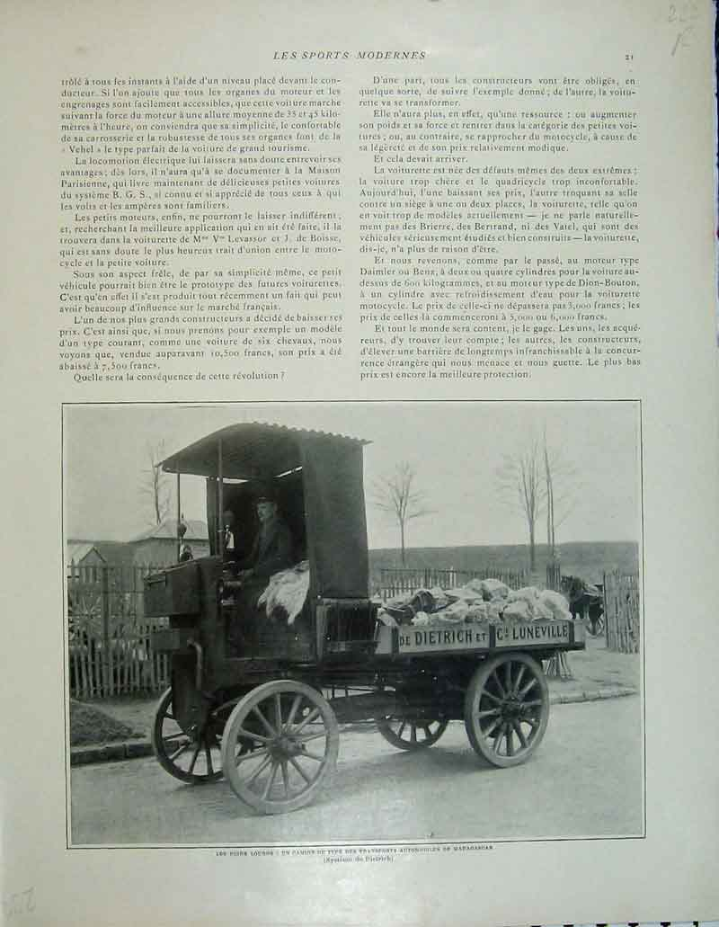 Print French Motor Car Lorry Theatre Automobile Club France 232Rb404 Old Original