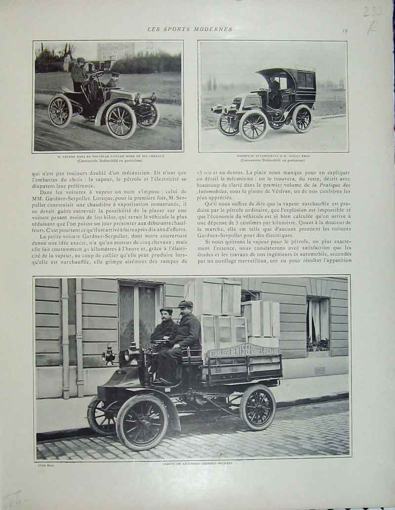 Print French Motor Car Geroges Richard Prat Chevaux Brierre 233Rb404 Old Original