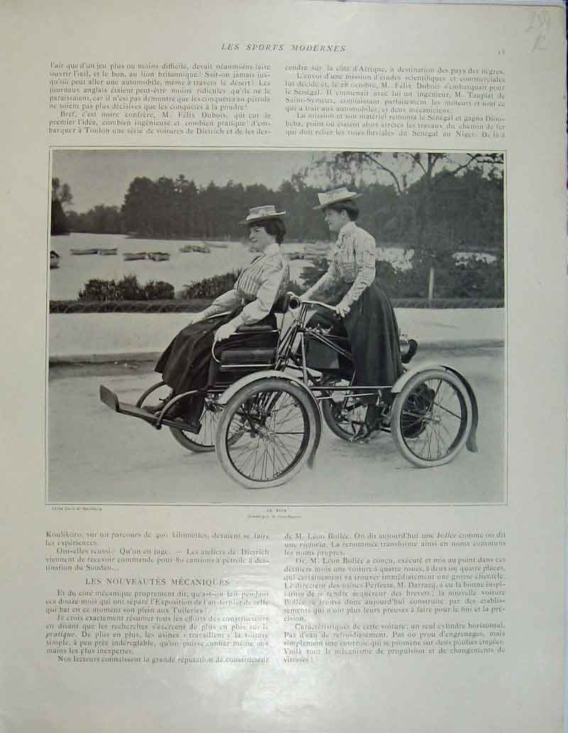 Print Motor Car Desert French Sport Women Quadricycle 254Rb404 Old Original