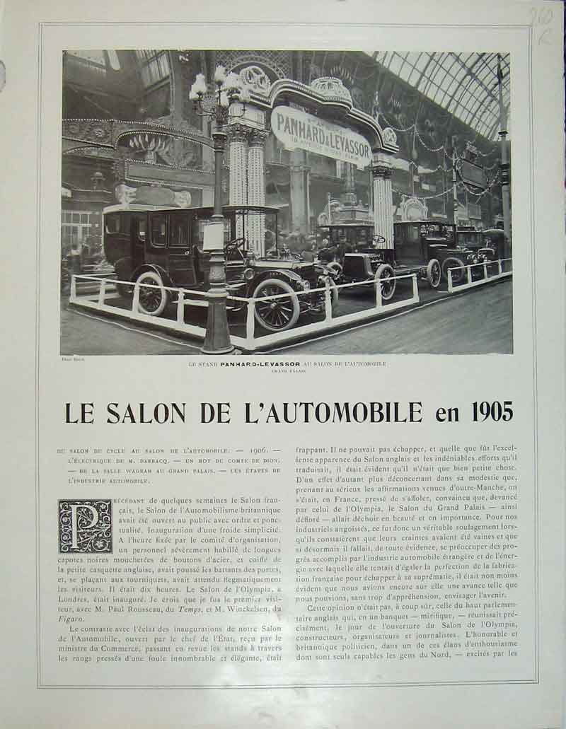 Print Automobile Exhibition France Richard-Brasier Levassor 260Rb404 Old Original