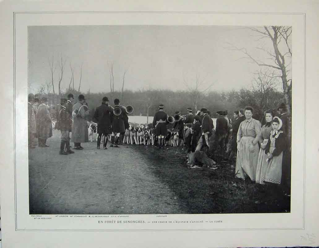 Print France Motor Car Chateau-Thierray Fox Hunting Dog Sport 269Rb404 Old Original