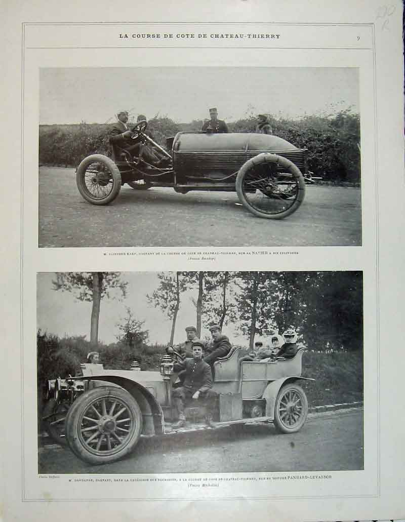 Print France Sport Fox Hunting Horse Motor Chateau-Theirry 270Rb404 Old Original