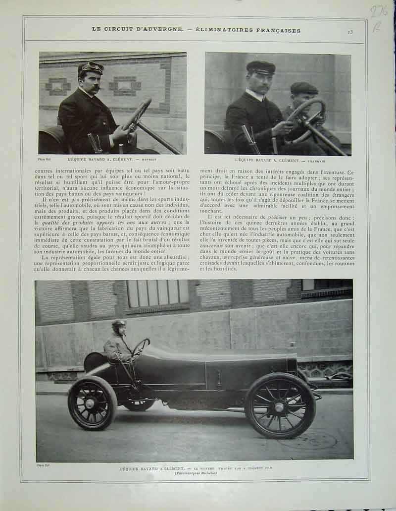 Print France Motor Car Rougier Dietrich Automobile Hanriot 276Rb404 Old Original