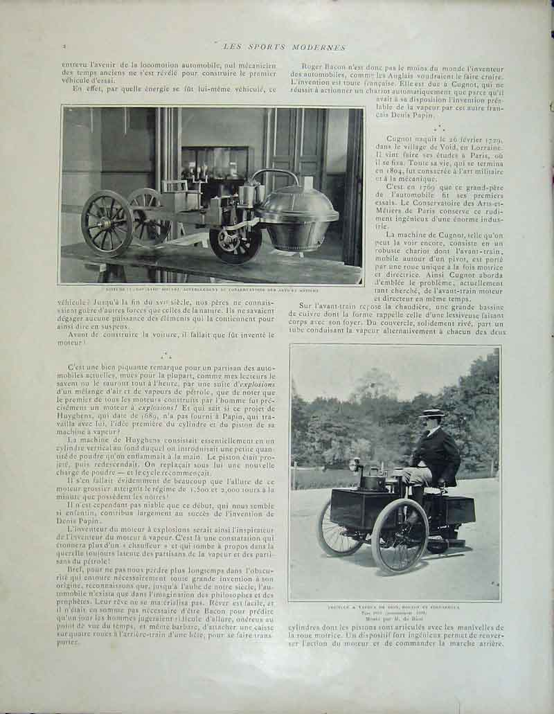 Print French Motor Car Tricycle Voiture Gugnot Levassor Paris 289Rb404 Old Original
