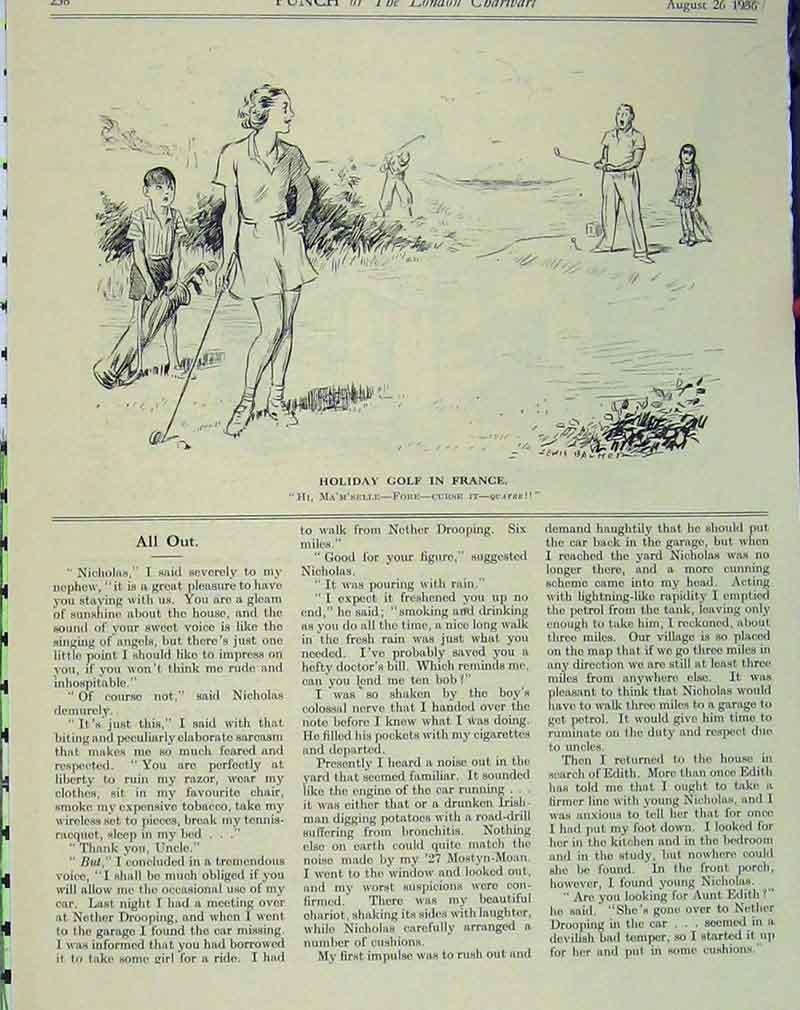 Print Golf Holiday France 1936 Humorous Scene Woman Legs 121B405 Old Original