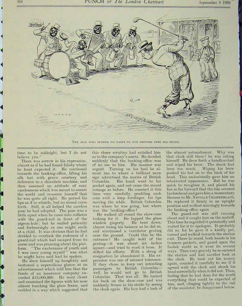 Print 1936 Humorous Golf Sport Minstrels Man Club Comedy 122B405 Old Original