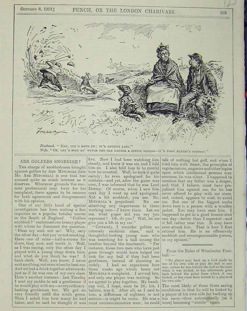 Print 1913 Man Golf Bunker Stuck Sport Humorous Scene Comedy 123B405 Old Original