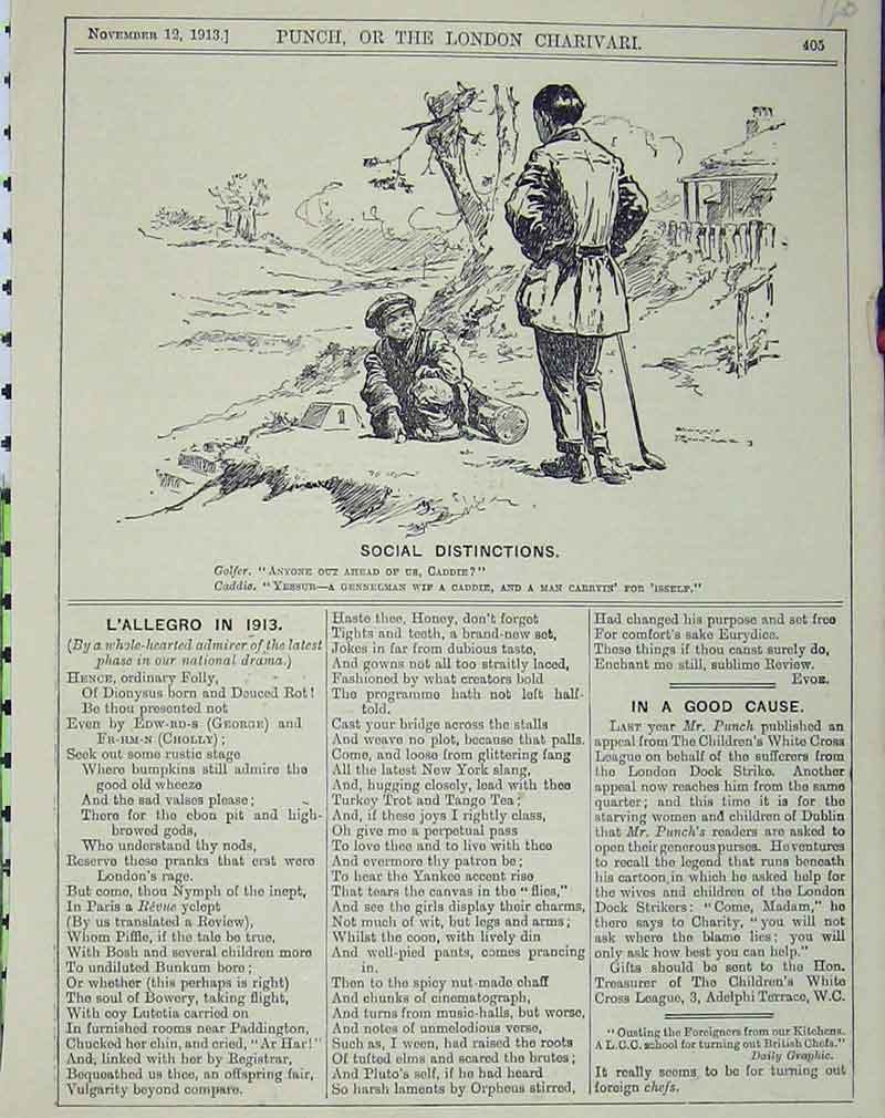 Print 1913 Golf Sport Man Caddy Humorous Comedy 125B405 Old Original