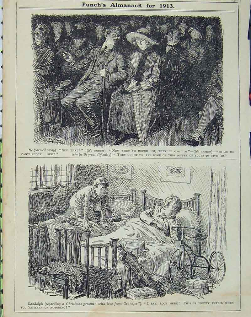 Print Audience Theatre 1913 Young Boys Bed Christmas Humorous 127B405 Old Original