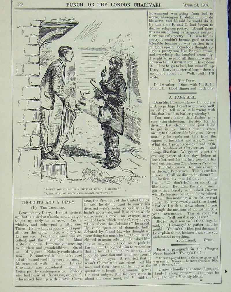 Print 1907 Golf Man Beggar Doorstep Humorous 139B405 Old Original