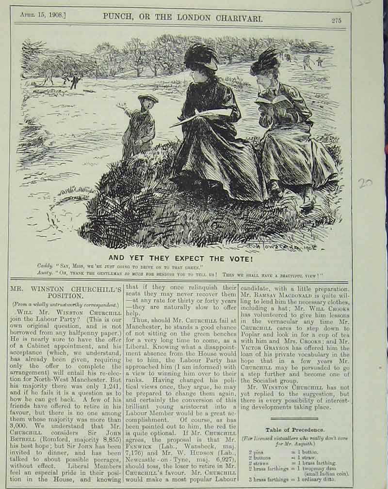 Print 1908 Humorous Scene Golf Course Women Reading Sport 153B405 Old Original