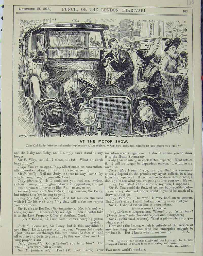 Print 1913 Motor Car Show Humorous Lady 158B405 Old Original