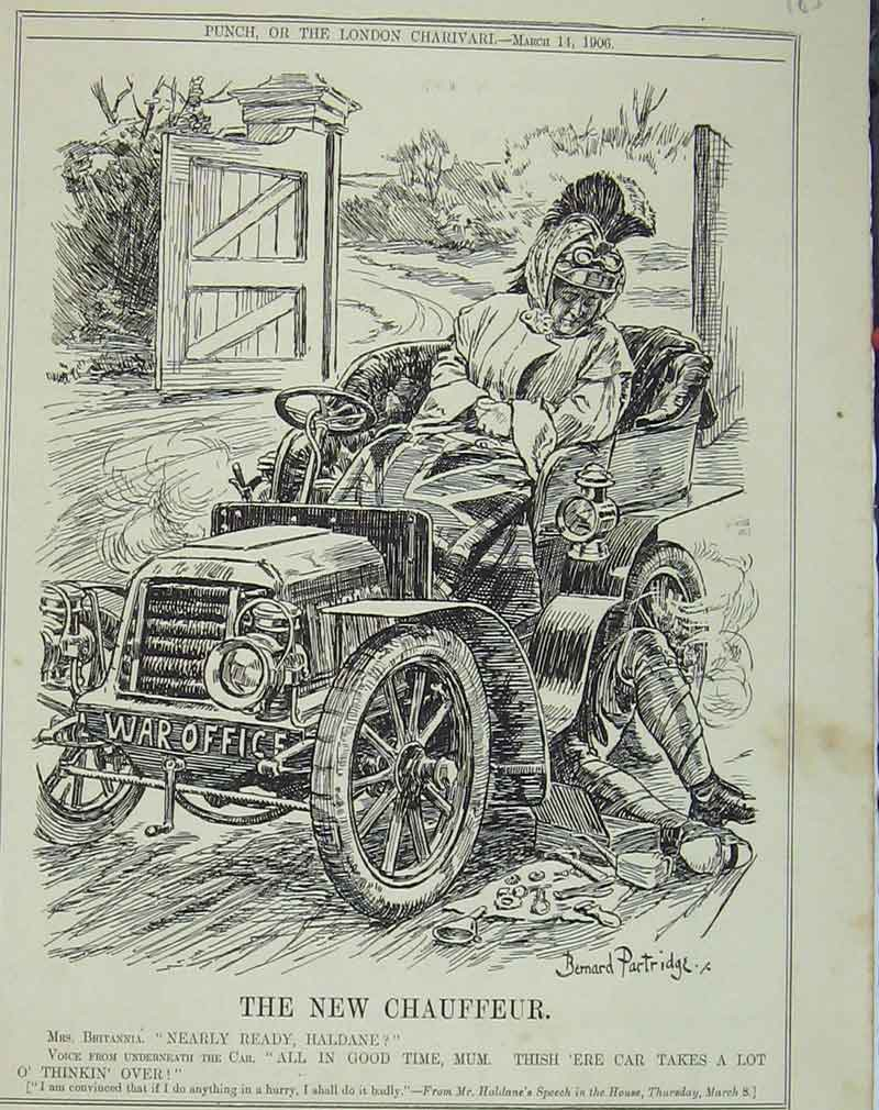 Print 1906 Motor Car Broken Chaffeur Humorous 185B405 Old Original