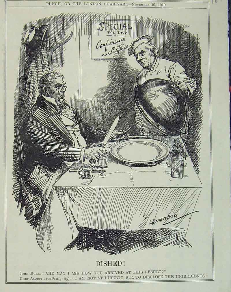 Print 1910 Humorous Scene Man Table Chef Tray Restaurant 187B405 Old Original