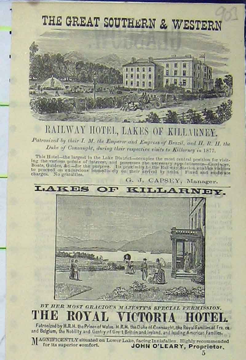 Print Advert Great Southern Railway Hotel Lakes Killarney 903B406 Old Original