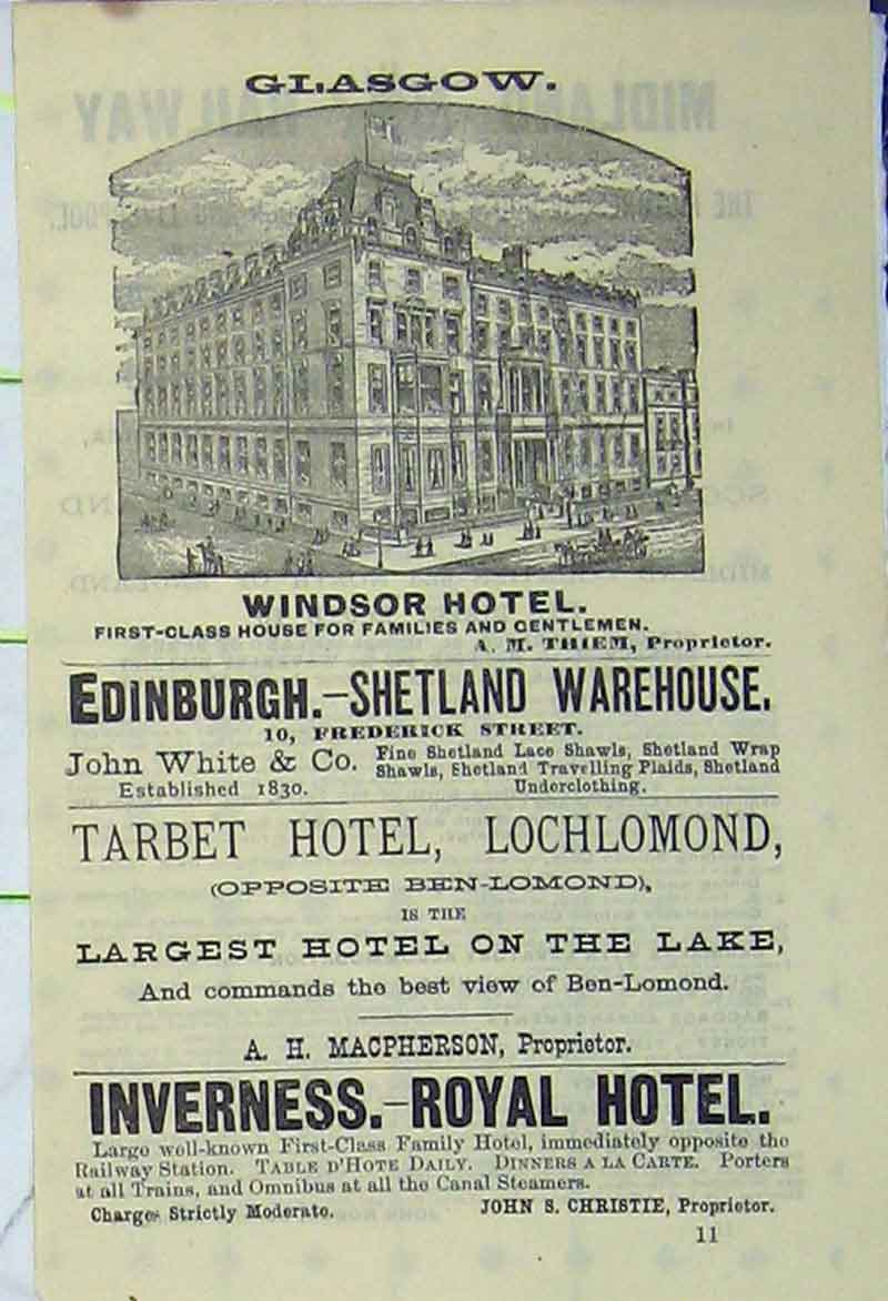 Print Advert Windsor Hotel Edinburgh Inverness Royal Hotel 903Ab406 Old Original