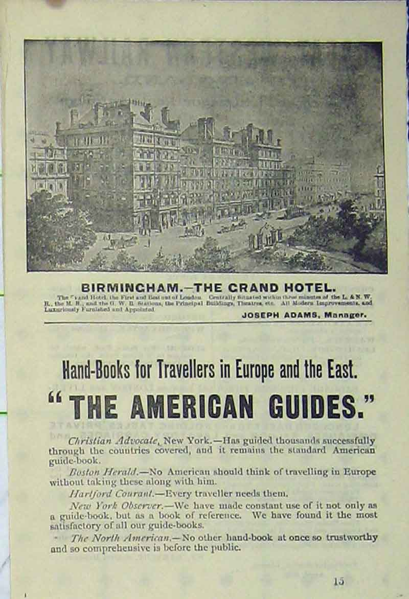 Print Advert Birmingham Grand Hotel Building Holiday  Old Original