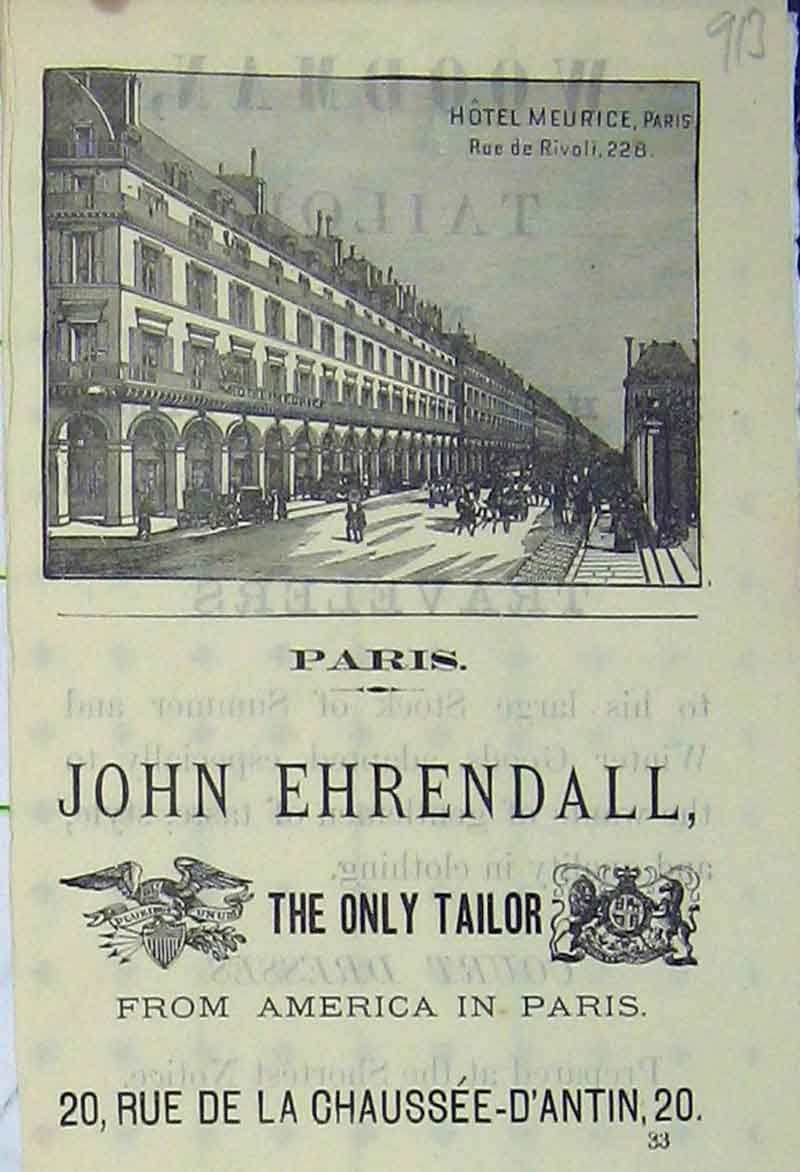 Print Advert Hotel Paris John Ehrendall Tailor America 913B406 Old Original