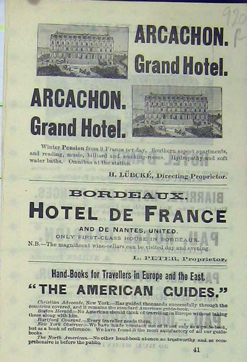 Print Arcachon Grand Hotel Advert Biarritz France Gassion 920Rb406 Old Original