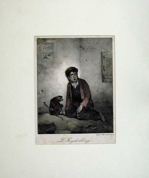 Print Colour Boy Monkey France Animal Chains Hat Music 105C210 Old Original