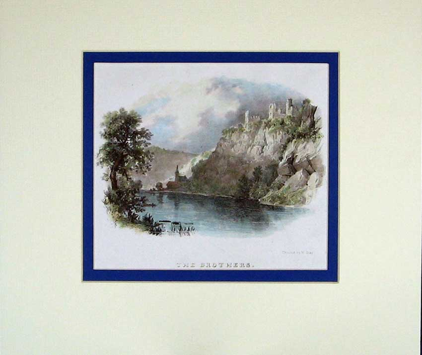 Print Hand Coloured Lithograph Castle Cliff River Trees Day 107C210 Old Original