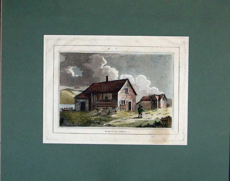 Print Hand Coloured Building Country River Boat Man 111C210 Old Original