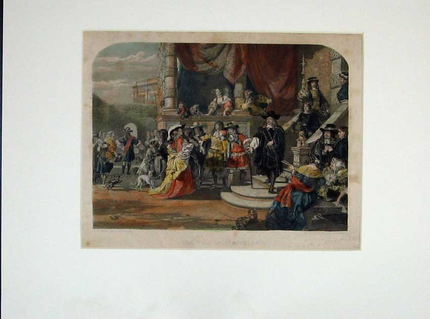 Print Hand Coloured Scene Fall Clarendon Costumes Bacon 113C210 Old Original