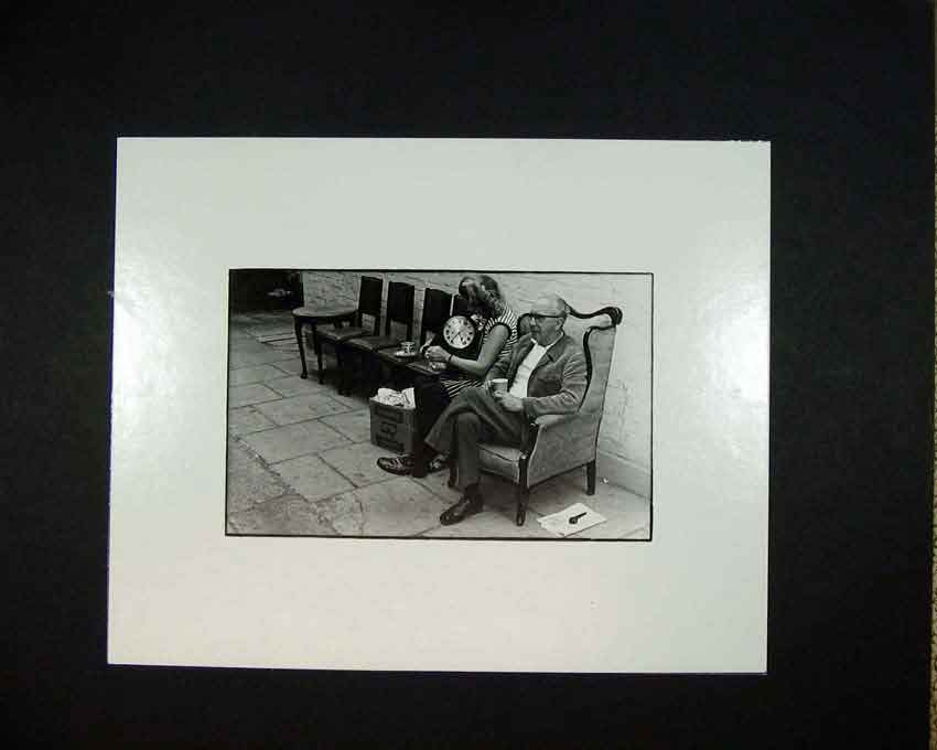 Print 1970 Photographic Man Woman Chair Clock Ward 103C201 Old Original