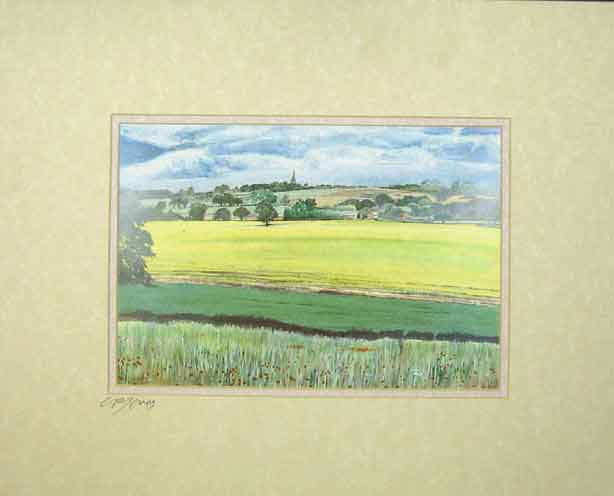 Print Water Colour Distant Church Country Fields Chris Jones 102C202 Old Original