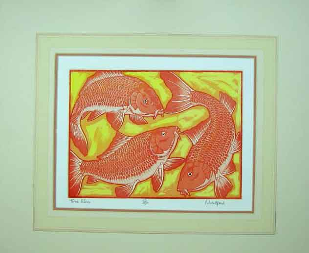 Print Orange Three Fishes Nature Limited Edition Mount 110C202 Old Original