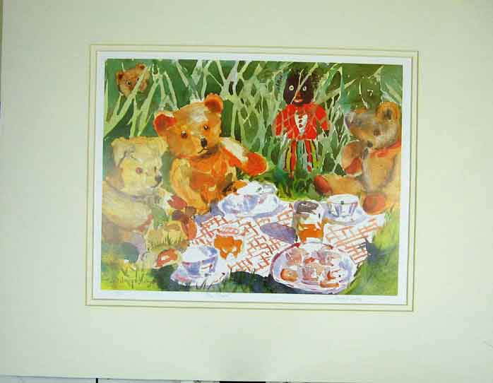 Print Teddy Bears Picnic Blanket Golly-Wog Grass Janet Judge 111C202 Old Original
