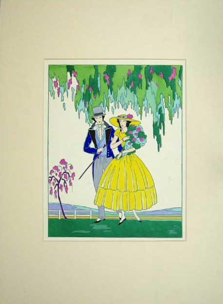 Print Colour Painting Man Woman Romance Flowers Trees 111C205 Old Original