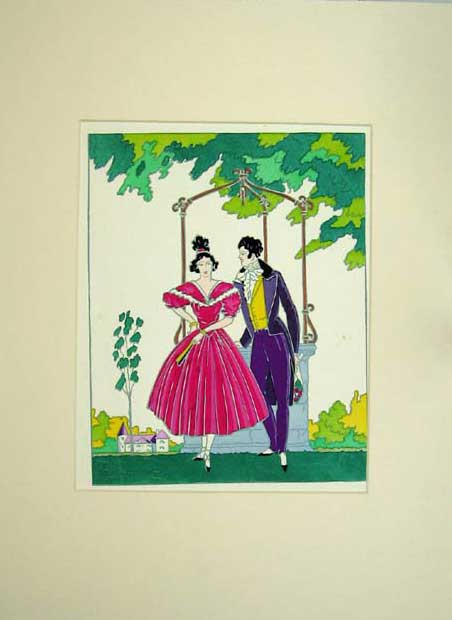 Print Colour Painting Man Woman Romance Flowers Dresses 112C205 Old Original
