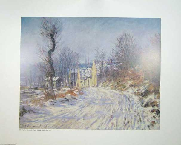 Print Water Colour Road Giverny Winter Claude Monet Snow 113C205 Old Original