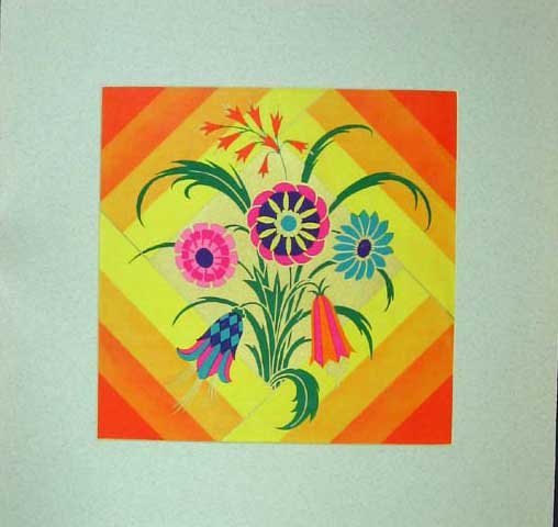 Print Colour Flowers Shapes Yellow Orange Green Blue 206C207 Old Original