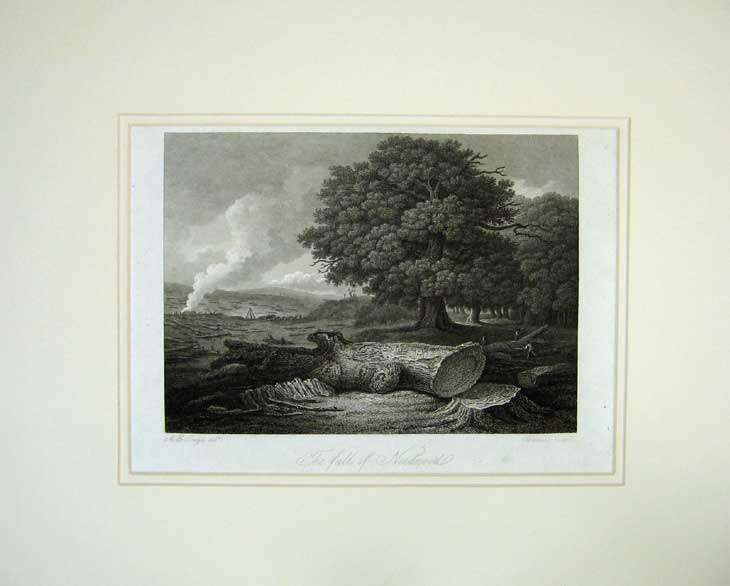 Print 1815 Engraving View Fall Neednood Country Landseer 106C211 Old Original