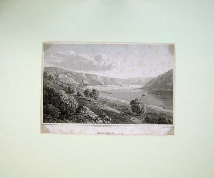 Print 1824 View Bacharach Lake Mountains Finden 112C211 Old Original